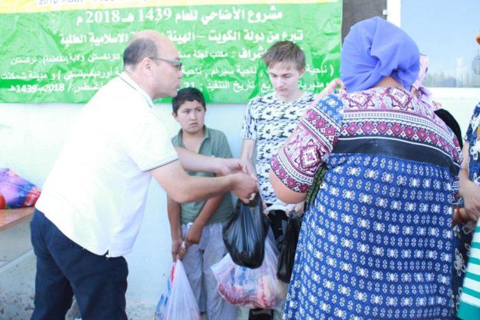 Араб елі Түркістан облысындағы 100 мұқтаж отбасыға ет таратып берді